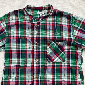 engineered garments green check china collar shirt (95-100 size)