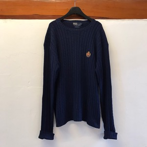 Polo Ralph Lauren silk embroidered wide crew neck cable sweater (100-110)