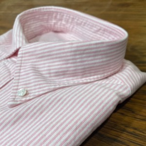 SVC pink candy stripe OCBD shirt
