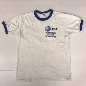80s vtg russell ringer t-shirt ' AT & T ' (95-100)
