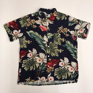 engineered garments cotton floral open collat shirt (L, 100-105)